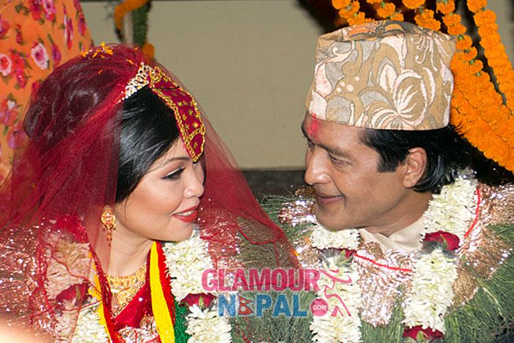 Rajesh Hamal and Madhu Bhattarai wedding photo.