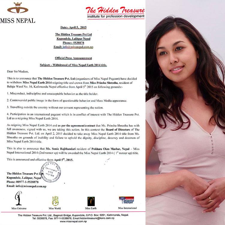 Prinsha  Shrestha no more holds Miss Nepal Earth 2014