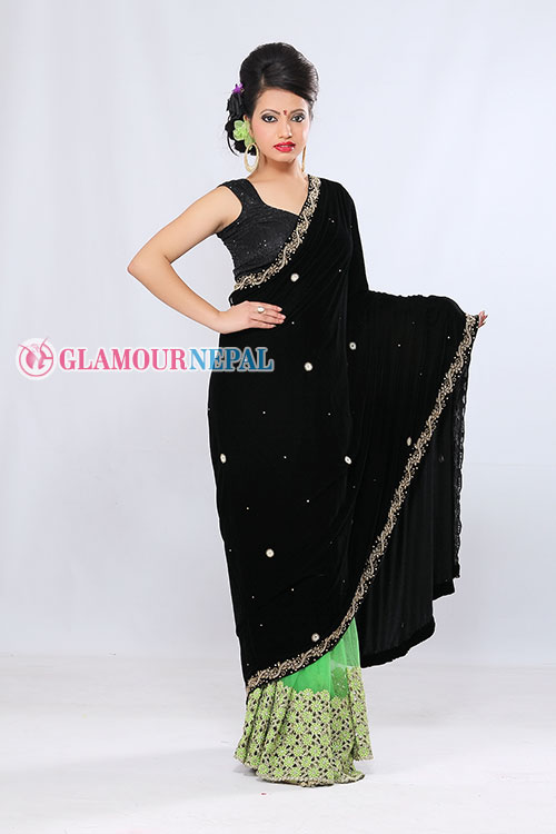 model simran luitel wearing black saree