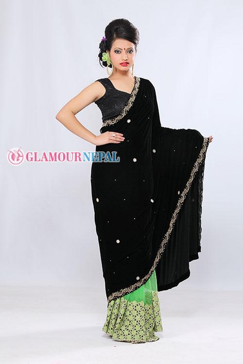 model simran luitel wearing black saree