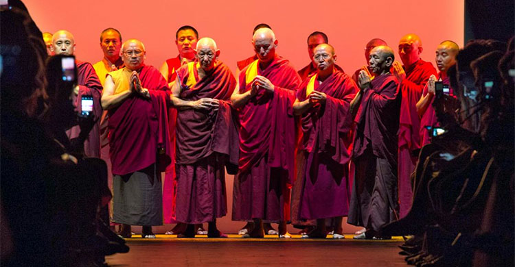 Praying Monks at NYFW show Prabal Gurung