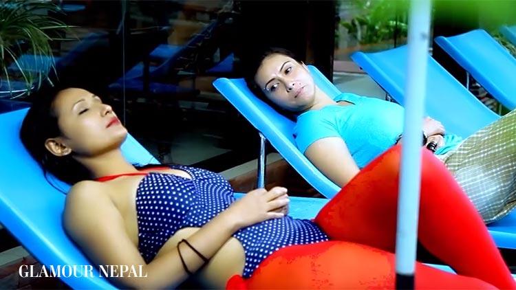 Actress Nisha Adhikari and Diya Maskey