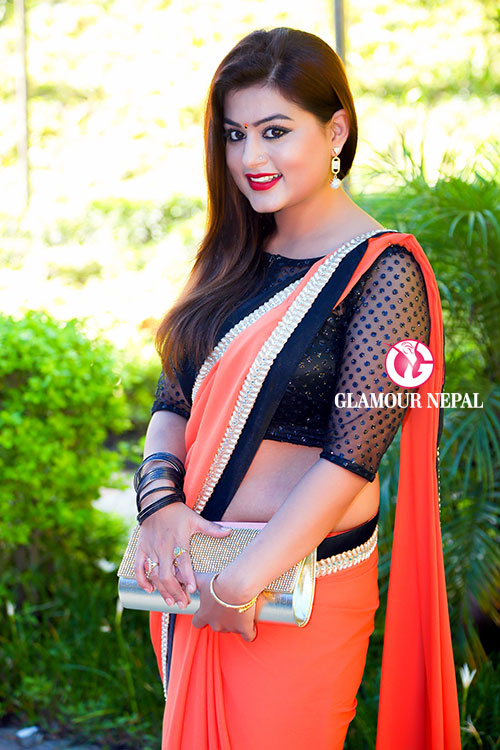 actress-shilpa-pokharel-photo-orange-saree-7