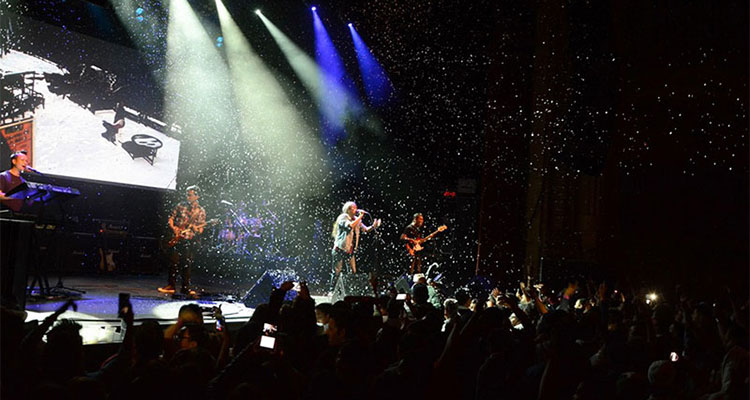 Snow falls as Nepali music band Nepathya performs at the Warfield Theatre in San Francisco, California, on Saturday, October 1, 2016. Photo: Nepalaya