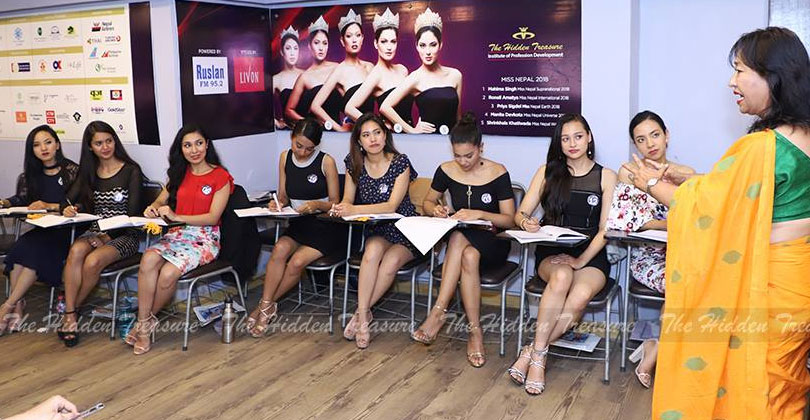 Miss Nepal 2019 participants on grooming class / Image courtesy: The Hidden Treasure